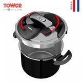 英国TOWER牛顿至尊304不锈钢快锅4L高压锅时尚黑 电磁煤炉通用 T90114