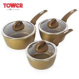 英国TOWER温莎系列金石16/18/20三件套奶锅 T81212GD