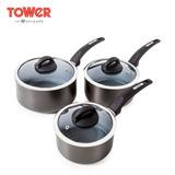 英国TOWER岩灰石三件套不粘锅无油烟奶锅煮面锅宝宝辅食小炖电磁炉通用 T80302